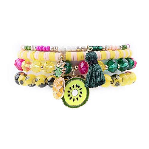DMUEZW 4 Teile/Satz Nette Ananas Quaste Obst Anhänger Charme Armbänder Frauen Farbige Kristall Kunststoff Naturstein Armband