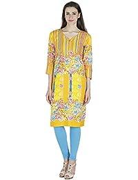 Agroha Women's Cotton Printed Straight Long Kurti