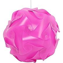 Original DIY lámpara sombra Puzzle Puzzle IQ lightshade–Techo–Pantalla–Eclairage Suspensión Moderno–Flat pack Self Assembly 30pcs Set diámetro 30cm (rosa)