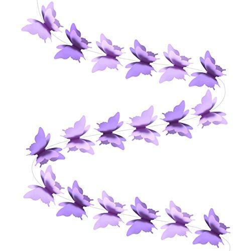 BESTOYARD 3D Papier Schmetterling Banner Hängen Dekorationen Bunting Flagge für Hochzeit Geburtstag Party Baby Dusche 2 STÜCKE (Lila) (Baby-dusche-dekorationen Freien Im)