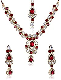 Designer Red Kundan Necklace Set With Maang Tika For Women By Shining Diva