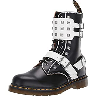 - 41ebgDc3axL - Dr. Martens Women's Joska Stud 10 Eye Boots, Black/White, 9 Medium US