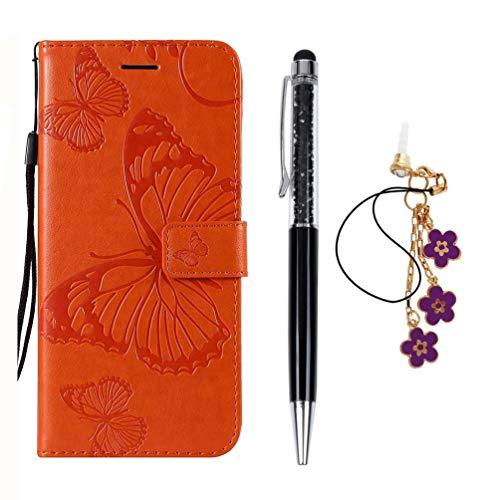 Hülle für Samsung Galaxy S10+ 6.4 Zoll / S10 Plus, Geprägter Schmetterling Vorne schnallen Leder Handyhülle Klappbares Brieftasche Schutzhülle Wallet Case mit Integrierten Kartensteckplätzen Orange -