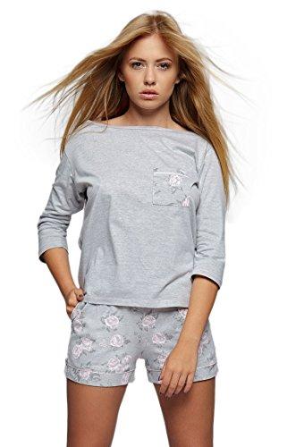 Sensis - Ensemble de pyjama - À Fleurs - Manches 3/4 - Femme Gris