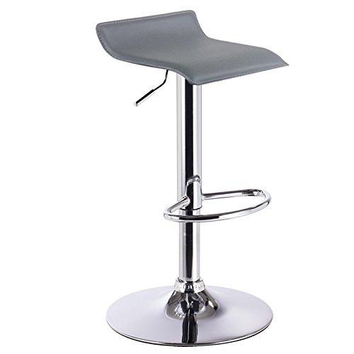 WOLTU BH11gr-1 Design Hocker Barhocker, stufenlose Höhenverstellung, verchromter Stahl, Antirutschgummi, pflegeleichter Kunstleder, gut gepolsterte Sitzfläche, Grau - Hohe Bar Hocker