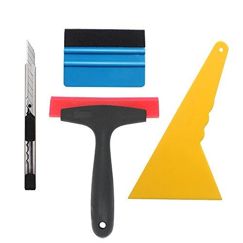 Gebildet 4 in 1 Kit de Outils de Installation pour Emballage Vinyle de Fenêtre de Voiture, avec Squeegee à la Fibre Noire, Squeegee au Silicone en Caoutchouc, Couteau Tout Usage