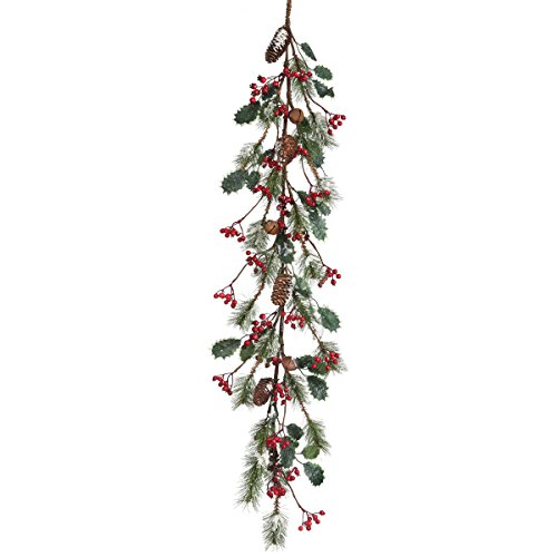 Frosted Skip Pine W/Berry/Holly Garland 48
