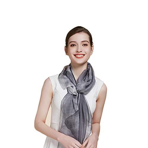 Jean Grey Muster Kostüm - Xyuluy Silk Schal, chinesischer eleganter Stil, gedruckte Muster, Silk Schal der Arbeitsabend-Reisedekoration, 180 * 110CM,Grau