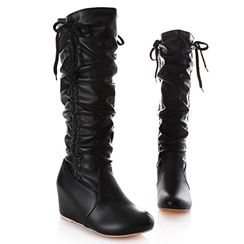 COOLCEPT Femmes Bottes Genou Slouch Boots Talon Haut Compense Black
