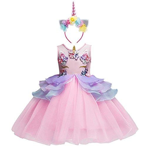 Mädchen Einhorn Cosplay Kleid Kleinkind ärmellose Tüll Tutu Prinzessin Kleid Kinder Hochzeit Geburtstag Festzug Halloween Weihnachten Karneval Party Kleid Kostüm Dress Up mit Stirnband Rosa 5-6
