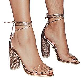 Damen High Heels Sandalen Transparente Peep Toe Sandalen Knöchel Schnalle Party Freizeit Hochzeit Abend Sommer Schuhe Gold 36 EU
