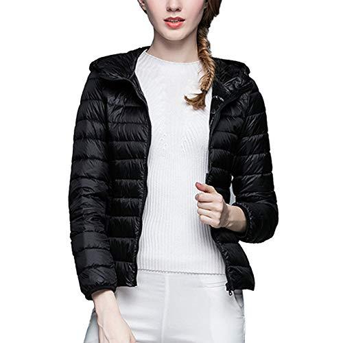 41ebhi5pOFL. SS500  - Ultra Light Weight Women Packable Hooded Down Jackets Windproof Slim Solid Long Sleeve Zip Coat
