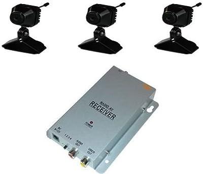 KesCom 811dk3CC 3x Mini Colores-Cámara inalámbrica Security supervisión, canal 1hasta 4disponible (No ajustable) Incluye 4canales receptor de 2,4GHz