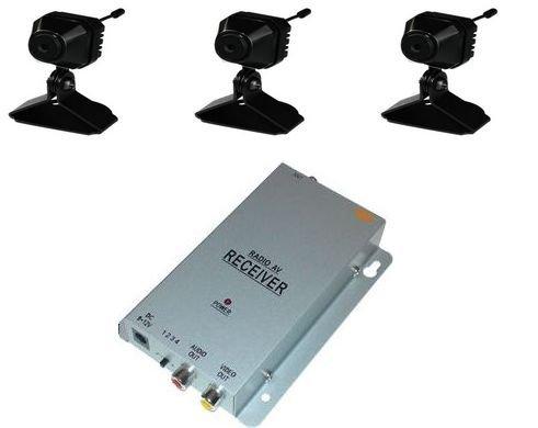 KesCom® 811DK3 gleich 3x Mini Farb Funk Kamera Security Überwachung , Kanal 1 bis 4 erhältlich (nicht einstellbar) inkl. 4 Kanal Empfänger 2,4 GHZ