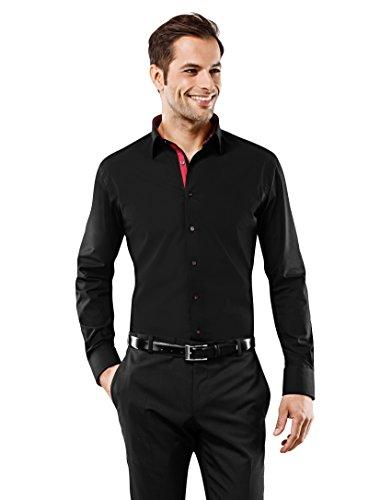 Vincenzo Boretti Herren-Hemd Bügelfrei 100% Baumwolle Slim-Fit Tailliert Uni-Farben - Männer Lang-Arm Hemden für Anzug mit Krawatte Business Hochzeit Freizeit Schwarz 37/38