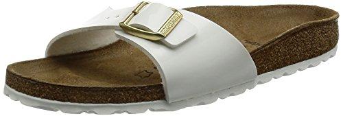 Boston Weiches Fußbett (BIRKENSTOCK Classic Damen Madrid Birko-Flor Pantoletten, Weiß (Weiss Lack), 36 EU)