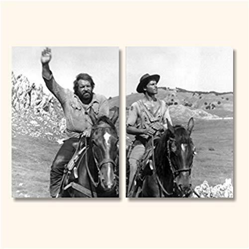 L&C Italia Quadri Bud Spencer und Terence Hill 2 - modernes Bild, 105 x 70 cm, XXL Paneele auf Leinwand Film Kino Schwarz Weiß Canvas Studio Wohnzimmer Büro