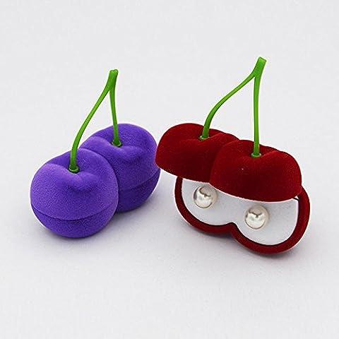 XUEQ Boîte À Bijoux En Cerisier En Velours Boucles D'Oreilles En Perle Boîte À Collier , Red