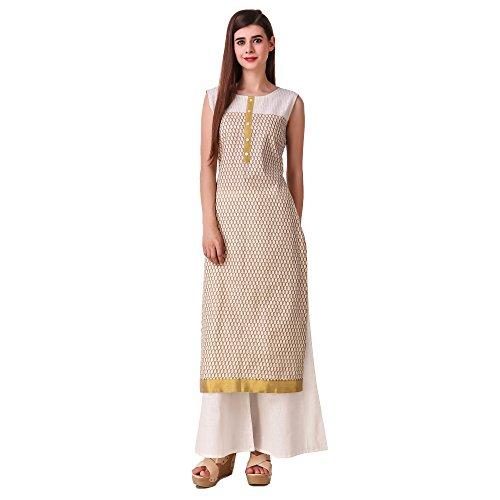 Sreshee Women's Premium Cotton Designer Kurti with Palazzo Pants Set (X-Large)