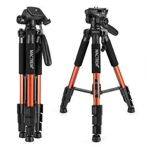 MACTREM Video Foto Kamerastativ - Kamera Video Stativ mit Kugelkopf, Dreibein Stative für DSLR EOS Canon Nikon Sony Reisestativ (Orange)