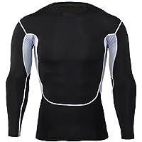 junkai Herren Thermo Shirt Langarm Kompressionsshirt Baselayer Compression Shirt Unterwäsche Funktionsshirt Oberteile Langarmshirt T-Shirt Pullover Lightweight Shirts Unterhemd M - XXXL