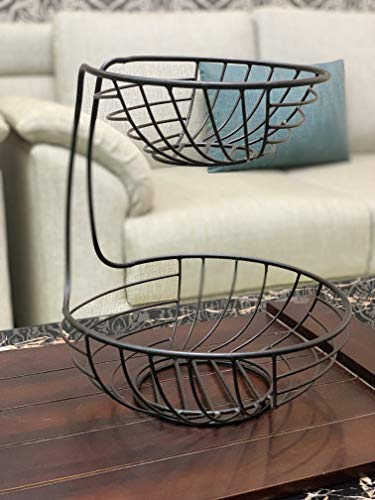 Kraftyhome 2 Tier Fruit Basket | French Country Wire Basket | Two Tier Fruit Basket Stand for Storing & Organizing Vegetables, Eggs, and More | Fruit Basket for Counter - STR
