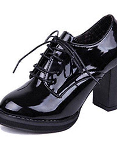 WSS 2016 Chaussures Femme-Décontracté-Noir / Bordeaux-Gros Talon-Talons-Chaussures à Talons-Cuir Verni burgundy-us6 / eu36 / uk4 / cn36