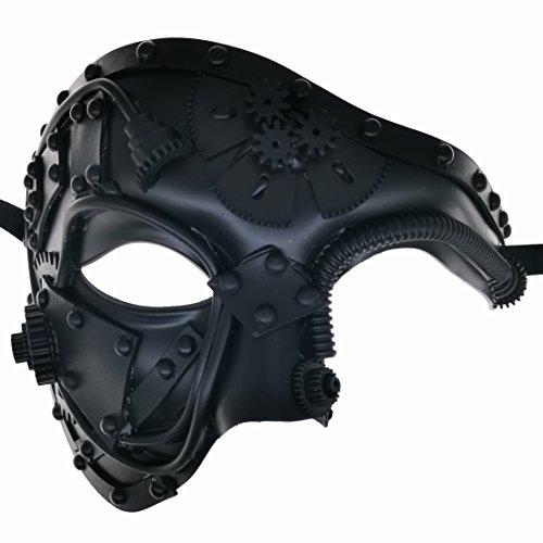CCUFO Steampunk-Halbmaske viktorianischen schwarzen mechanischen Gang Mann venezianische Maske Maskerade / Themenparty / Karneval / Ball Dance
