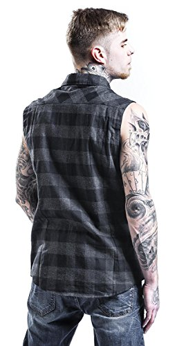 Urban Classics Sleeveless Checked Flanel Shirt Chemise Worker sans manches noir/rouge blk/cha