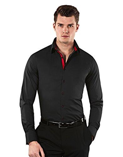 VB -  Camicia classiche  - Basic - Classico  - Maniche lunghe  - Uomo Nero / Bordeaux  Medium