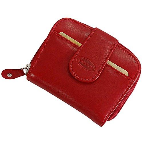 BOCCX ausgefallene Damen-Geldbörse kleiner Geldbeutel aus Leder Portemonnaie in hochwertiger Verarbeitung 10031 (Rot) (Portemonnaie Kleine Rote Damen)