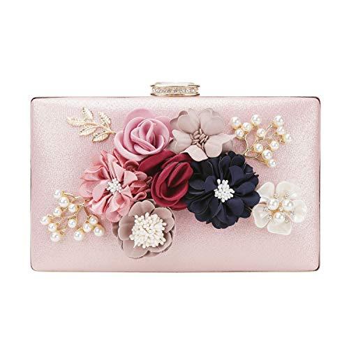 chuangminghangqi Damen Clutch Abendtasche Hochzeit - Handtasche mit Blumen Hochzeit Braut Geldbörse 20 * 12 * 3 cm (20 * 12 * 3 cm, Pink) - Blume Perlen Satin Clutch