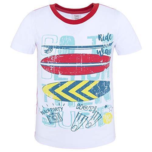 Tuc Tuc Camiseta Punto Blanca NIÑO Summer Surfers, Conjunto de Ropa para Niños, 5, 98/104 (Tamaño del Fabricante:4A)