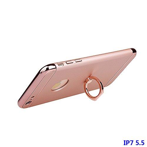 """Hülle für iPhone 7 Plus, xhorizon FM8 3 in 1 Ultra Dünn Hart Schützend Stilvoll Case für iPhone 7 Plus [5.5""""] mit 360 Grad Drehbar Ring Ständer Mit einem 9H gehärtetem Glasfilm Pink"""