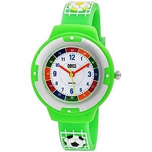 Qbos Kinderuhr Fußball Weiß Silber Grün Kunststoff Silikon Analog Quarz Lernuhr Armbanduhr für Jungen Mädchen