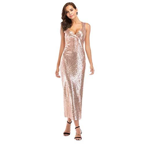 Go First Damen Sexy V-Ausschnitt Schultertasche Hüftkleid Europa Und Amerika Pailletten Elegantes Kleid Jahrestagung Partykleid (Color : Champagne, Size : Medium) Casual Home Stretch Ribbed