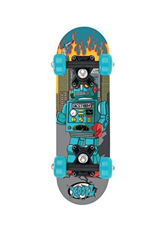 XOO MINI SKATEBOARD -17 Mini Kids Childs Beginner Skate Board Skateboard -blue Robot by XOO