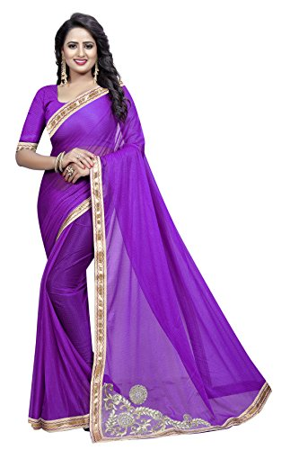 TRYme Fashion Women's Party Wear Georgette Printed Saree With Blouse Piece (Purple)