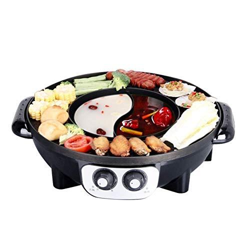 YYCHJU Elektrogrill Indoor-Hot Pot Multifunktionaler Indoor-Teppanyaki-Grill Shabu Shabu-Topf mit Teiler Separate Doppeltemperatur-Regelkapazität for 5~8 Personen (Color : Black) -
