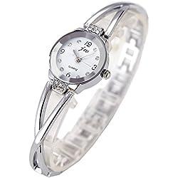 Women Watches Silver Bracelet Chain Rhinestone-White