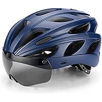 Flowerrs Casco Scooter Casco de Bicicleta Ajustable para Adultos con Gafas magnéticas Desmontables Casco de Montar de una Pieza (Negro + Azul) Skate Helmet