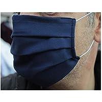 5 Mascherine artigianali in doppio strato di puro cotone oxford blu con tasca per inserimento ulteriore protezione (con elastici neri)