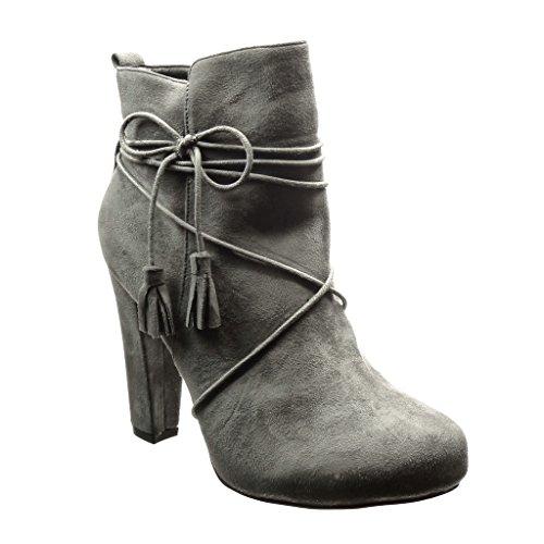 Gris Chaussure frange Talon haut Angkorly pom Bottine bloc lacets femme CM sexy Mode pom 10 6HyUcp