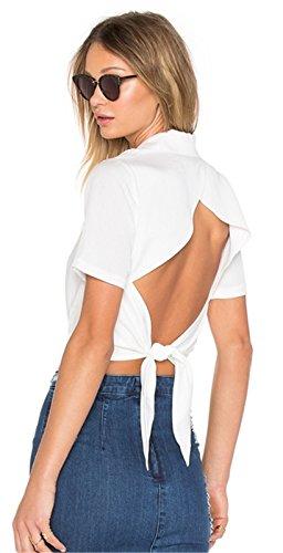 Sexy Manches Courtes Collar Portefeuille Croisé Cache-Coeur Sur le Devant à Nouer à Découpes Dos Blouse Chemisier Shirt Chemise Surplice Court Courte Crop Haut Top Blanc Blanc