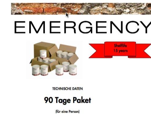 Katadyn Notvorrat Emergency Food 90 Tage Paket / 90 day package