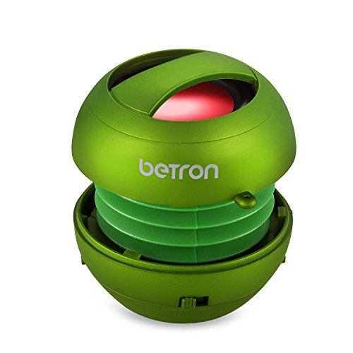 Betron JRS40 Pop Up Portable Mini Travel II Capsule Rechargeable 40mm Speaker For Iphone, iPod, Ipad, Tablets and MP3 Players - Green