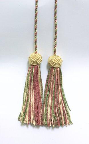 Lot de 2 Vanille, Dusty Rose, vert olive clair double Tassel/pompon Cravate avec 9,5 cm Pompon/propagation 68,6 cm, style # Bhct, couleur : 9401