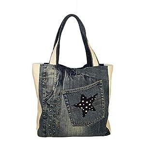 Denim Bag, Lässige Einkaufstasche, Damen Handtasche, Recycelte Denimtasche, Jeans Tote, Denim Handtasche, Blau Weiß…
