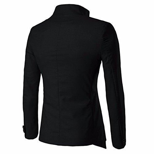 QIYUN.Z Irrégulière Col Montant Décontracté Deux Boutons Manteau Veste Blazer Mince Hommes Noir