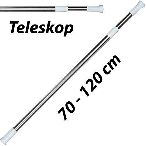 MSV Teleskop Duschstange Duschvorhangstange, Teleskopstange Verstellbereich 70 - 120 cm Edelstahl